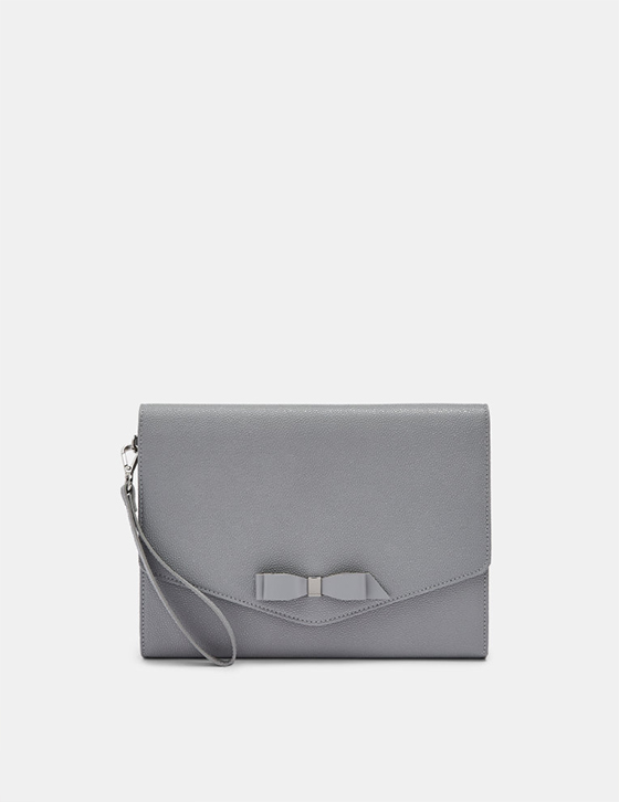 Row Home And Gifts Gifts Womens Gifts Gifts For Her KRYSTAN Bow Leather Envelope Pouch Grey DH9W KRYSTAN GREY 1 1.jpg 1