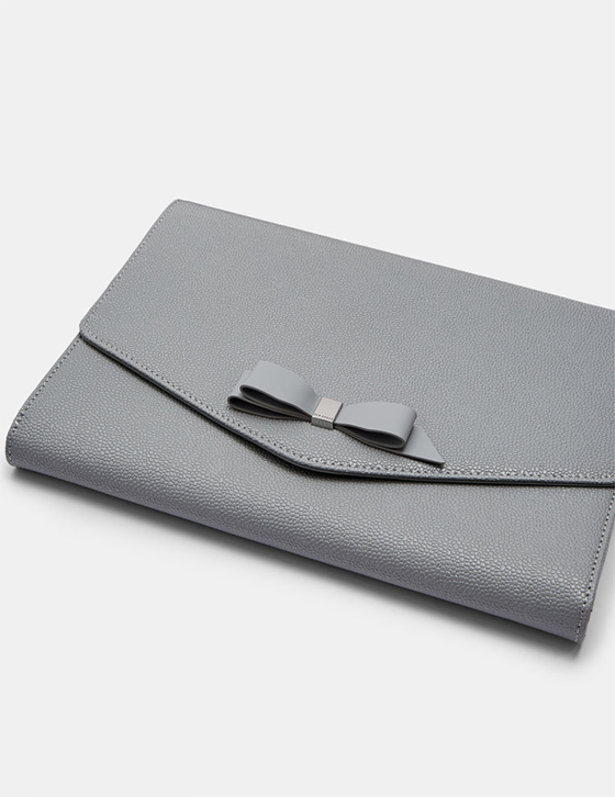row Home and Gifts Gifts Womens Gifts Gifts For Her KRYSTAN Bow leather envelope pouch Grey DHW KRYSTAN GREY alt