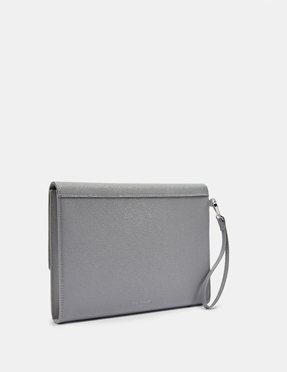 Row Home And Gifts Gifts Womens Gifts Gifts For Her KRYSTAN Bow Leather Envelope Pouch Grey DH9W KRYSTAN GREY 3 1.jpg 1