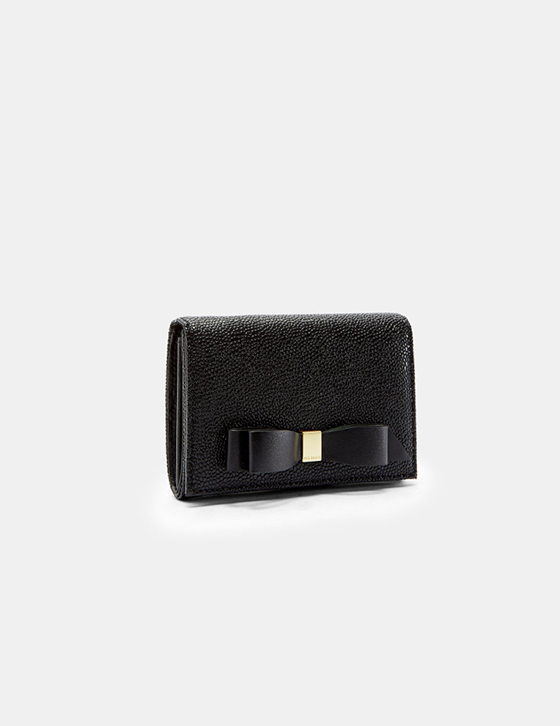 row Womens Accessories Purses LEONYY Bow flap mini leather purse Black XHW LEONYY BLACK