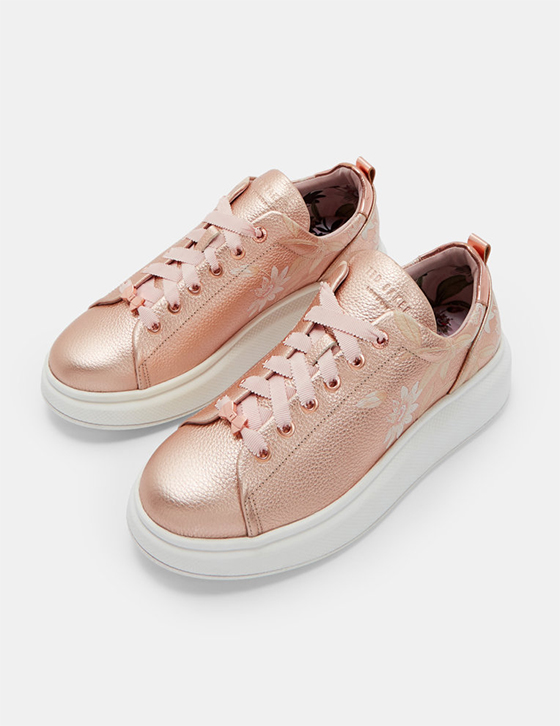 row Womens Accessories Shoes Trainers AILBE Printed platform sole trainer Rose Gold HHW AILBE ROSEGOLD