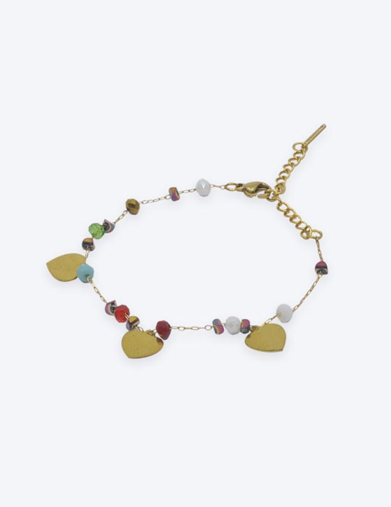 68071 Hearts/Beads Chain Bracelet