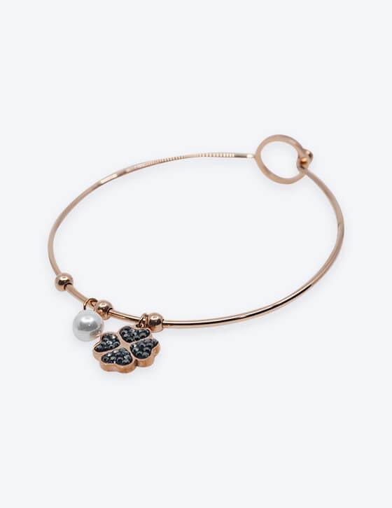 HING/3 4Leaf Clover/Pearl Stainless Steel Bracelet