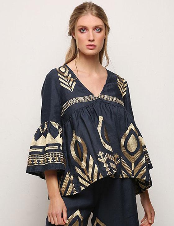 Harmony Navygold Linen Blouse By Kori