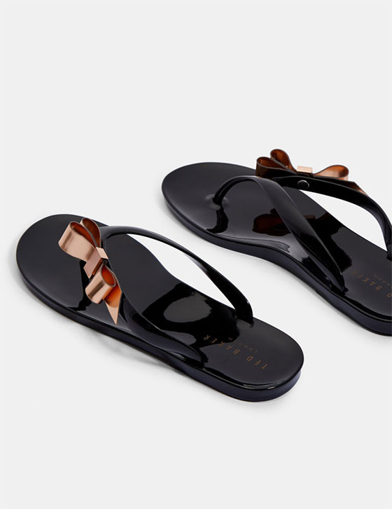 Us Womens Shoes SUSZIE Bow Detail Jelly Flip Flops Black HH9W SUSZIE BLACK 4
