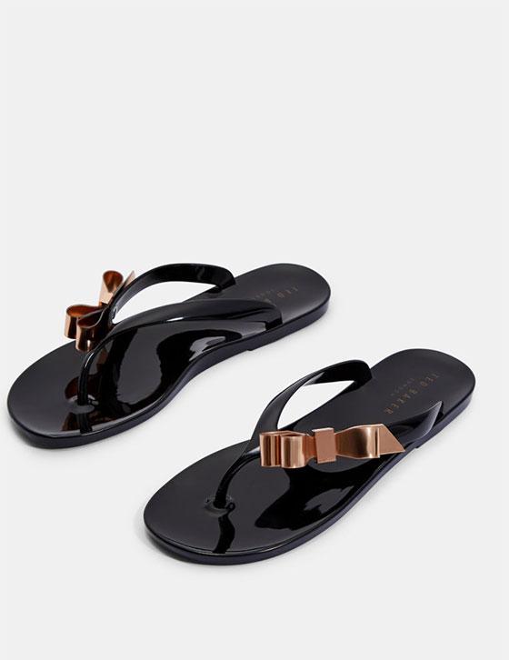 Us Womens Shoes SUSZIE Bow Detail Jelly Flip Flops Black HH9W SUSZIE BLACK 6
